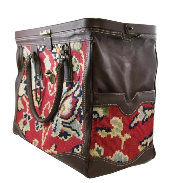 """Rug & Relic, Inc. Vintage Kilim Carpet Bag   """"Mary Poppins"""" Carpet Bag For Sale - Image 4 of 5"""
