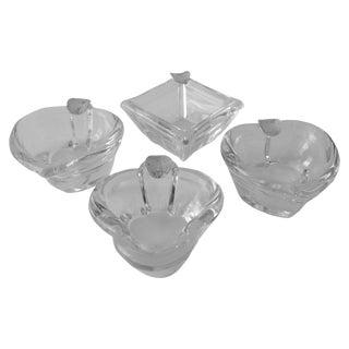 Vintage Glass & Silver Card Suite Ashtray Set - 4