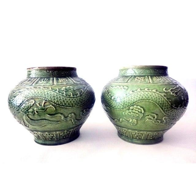 Asian Dragons Celadon Lidded Ginger Jars - A Pair For Sale - Image 3 of 8