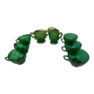 Vintage Green Depression Glass Sugar, Creamer and Tea Cups - Set of 8 For Sale