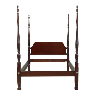 Thomasville Queen Size Mahogany Rice Carved Poster Bed For Sale