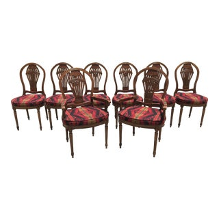 Early 20th Century Louis XVI French Style Hot Air Balloon Back Montgolfier Dining Chairs- Set of 8 For Sale
