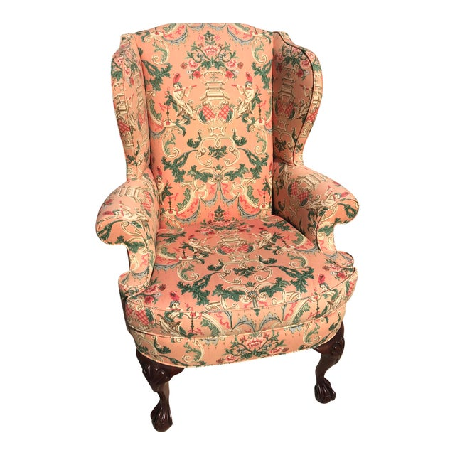 Asian Chinoiserie Wingback Chairs - a Pair For Sale - Image 3 of 5