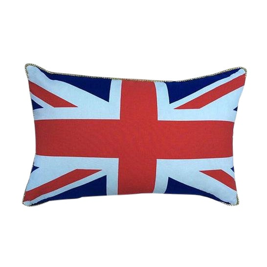 British Union Jack Pillow W/ Gold Cording For Sale