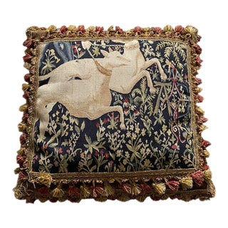 """Antique 17th Century Flemish Tapestry Pillow - 25"""" X 25"""" For Sale"""