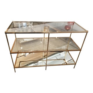 3-Tier Mirror & Glass Console Table With Metal Frame