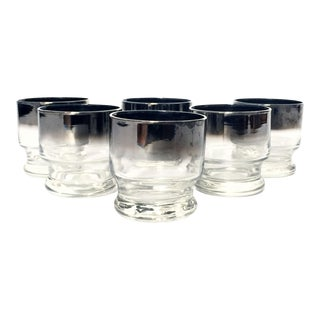 Vintage Silver Fade Cocktail Glasses - Set of 6