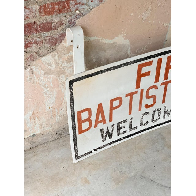 Found from the rural roads of East Texas comes this hand painted vintage church sign. With is quirking welcoming to its...