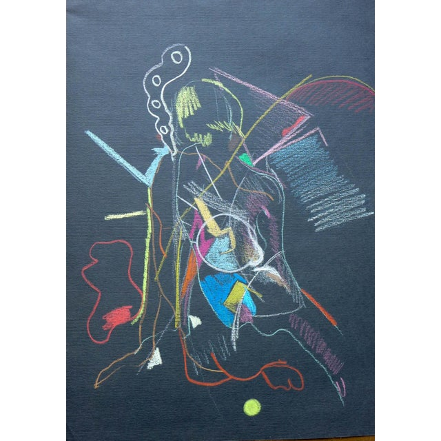 Abstract Pastel on Black Paper - Image 1 of 4