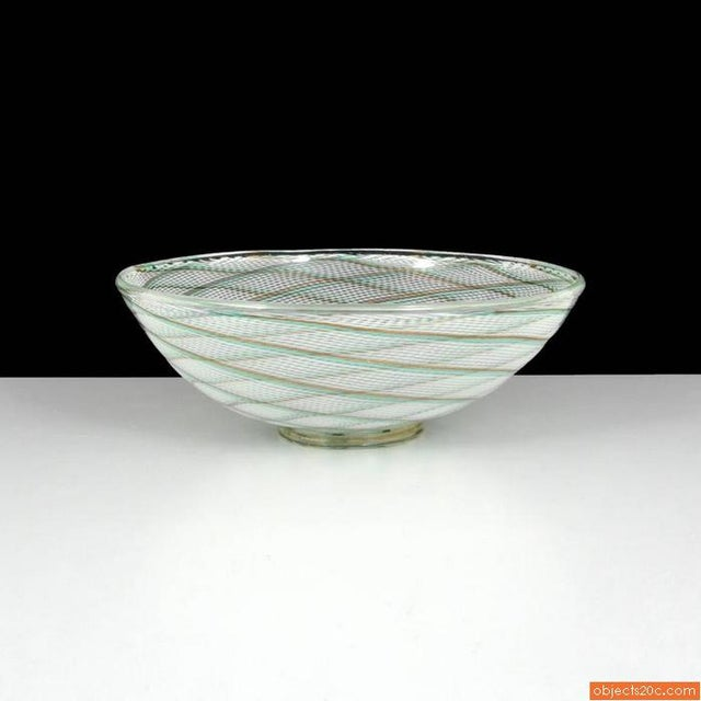 Mid-Century Modern Monumental Dino Martens Reticello Footed Center Bowl For Sale - Image 3 of 5