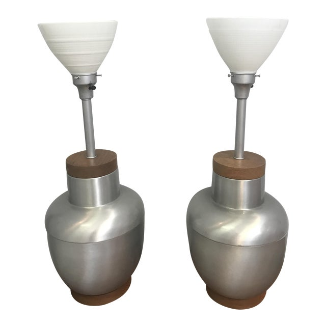 1950s Spun Aluminum & Walnut Lamps - A Pair For Sale