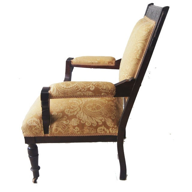 Vintage American Victorian Carved Wood Arm Chair - Image 3 of 6