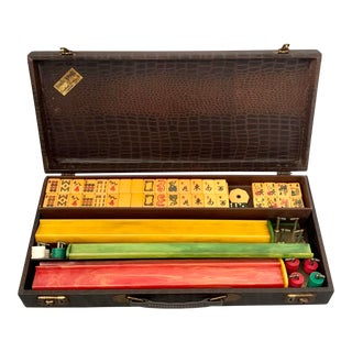 Vintage C1950s Mah Jongg Set With Catalin Tiles & Bakelite Racks in Alligator Carry Case, by Cardinal Products For Sale