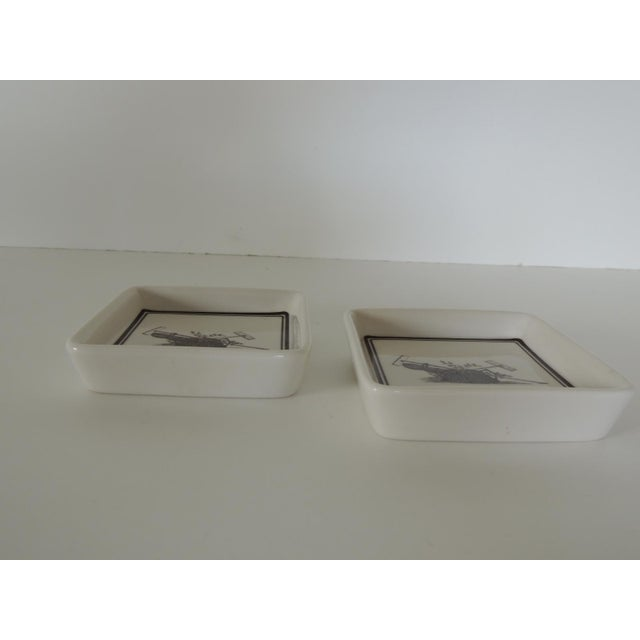 Country Pair of Vintage Porcelain Square Black & White Coasters With Garden Scene For Sale - Image 3 of 5