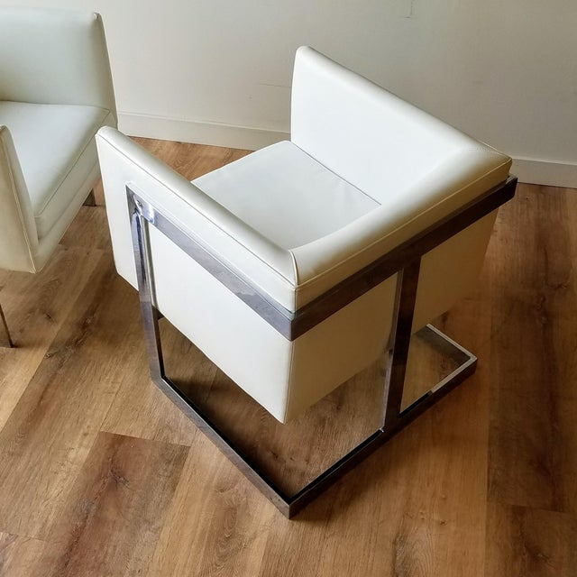 """Milo Baughman 1970s Milo Baughman Style """"T Back"""" Lounge Chairs in White Calf Leather - a Pair For Sale - Image 4 of 13"""