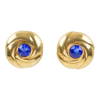 Courreges Paris Signed Gilt Metal and Blue Rhinestone Clip on Earrings For Sale