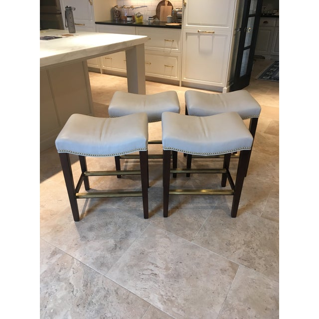 Hickory Chair Madigan Taupe Leather Backless Counter Stools - Set of 4 For Sale In Chicago - Image 6 of 6