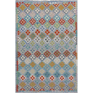 Modern Pakistani Grey and Multicolor Wool Reversible Kilim Rug- 6'8 X 9'6 For Sale