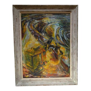 "1959 Strip Mining ""Jason's Fleece"" Oil Painting on Canvas by Ruth Erlich For Sale"