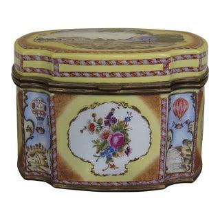 Castilian Decorated Porcelain Box W. Brass