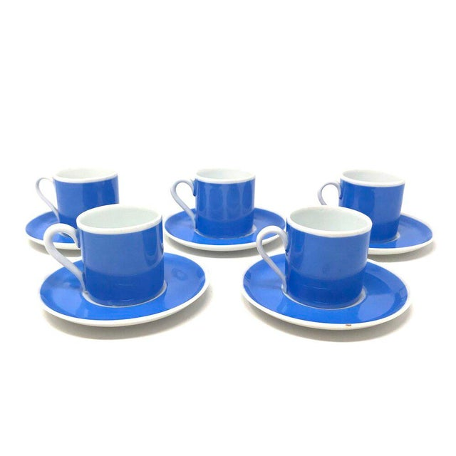 Set of five vintage blue and white espresso cups with saucers, made in Czechoslovakia. Price is for the set. Cups Width: 3...