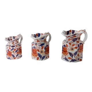 Blue, Purple and Orange Porcelain Pitchers from China - Set of 3 For Sale