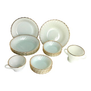 Mid 20th Century Anchor Hocking Fire King Suburbia Milk Glass Golden Shell Dinnerware - Set of 16 For Sale