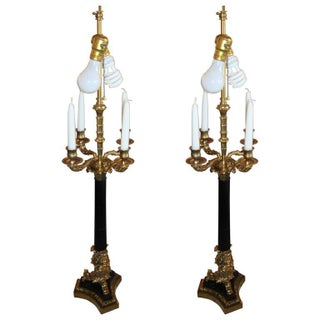 Neoclassical Style Bronze Table Lamps - a Pair For Sale