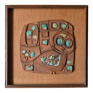 Ceramic Panel by California Artist Clyde Kelly, Circa 1968 For Sale