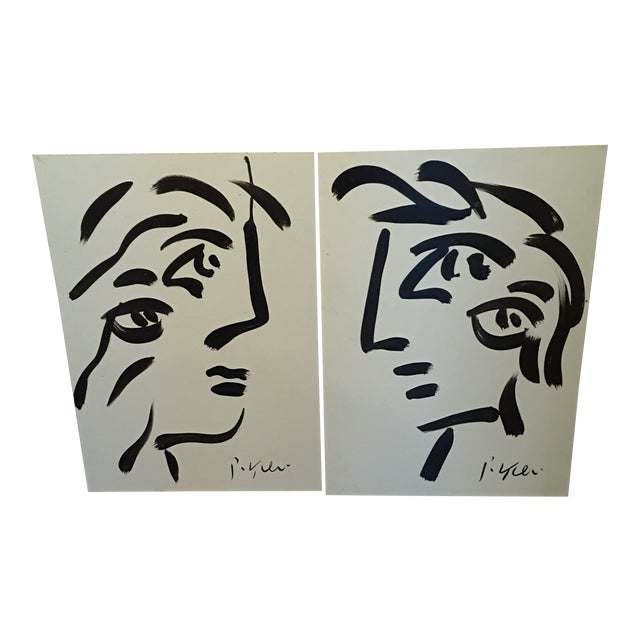 Peter Keil Cubist Profile Abstract Paintings - a Pair For Sale