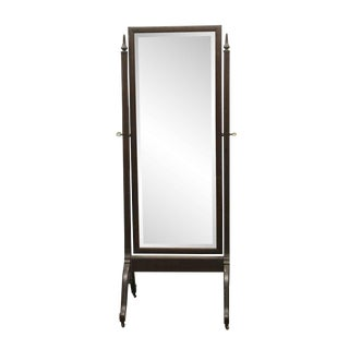 Antique Wooden Cheval Beveled Dressing Mirror For Sale