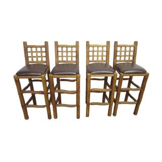 Rustic Chunky Pine Wood Bar Stools - Set of 4 For Sale