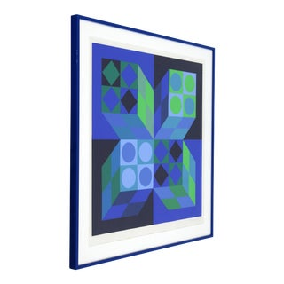 Mid-Century Modern Framed Signed Numbered Op Art Litho Print by Victor Vasarely For Sale
