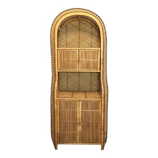 Vintage Bamboo Rattan Storage Cabinet Bookcase