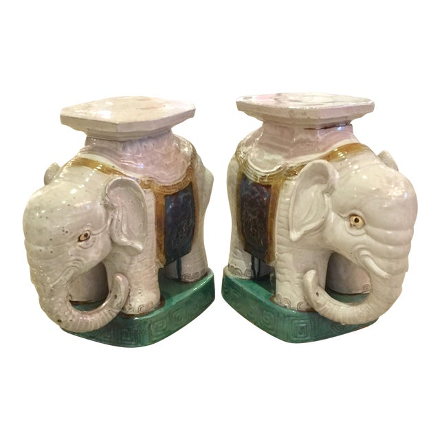 Ceramic Elephant Garden Stools - A Pair - Image 1 of 10