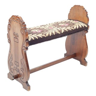 19th / Early 20th Century Carved Lyre Needlepoint Upholstered Harp Bench For Sale