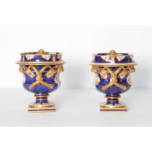 Pair of 19th Century English Porcelain Fruit Coolers With Covers For Sale - Image 4 of 13