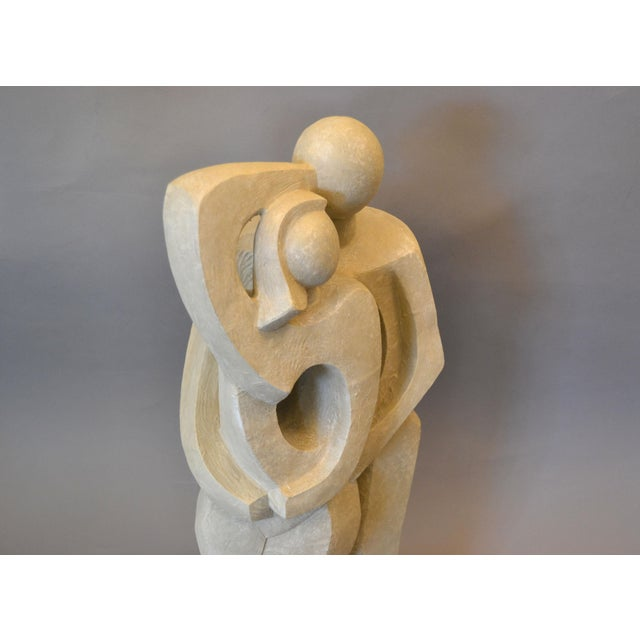 Textile Modern Abstract Geometric Embracing Loving Couple Sculpture in Gray Plaster For Sale - Image 7 of 13