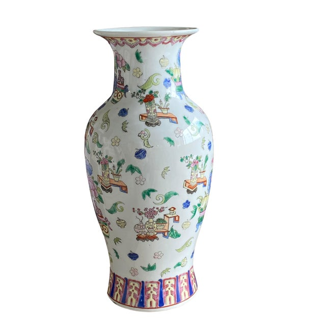 19th Century Chinese Famille Rose Vase With Pink Flowers For Sale - Image 4 of 10