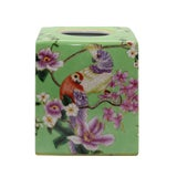 Image of Ceramic Green Color Square Tissue Box With Lover Bird Parrot Painting For Sale