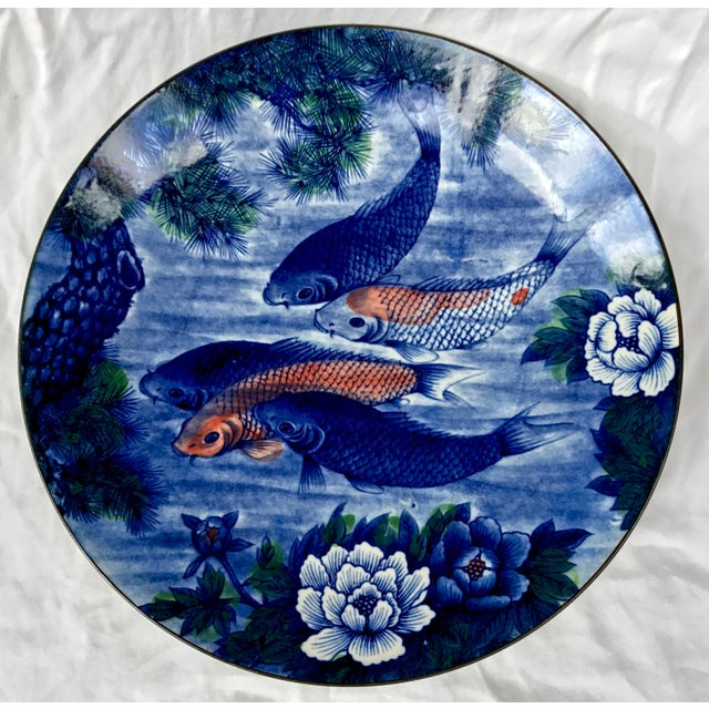 This beautiful hand painted Japanese serving platter or Shallow bowl is beautifully hand painted in rich indigo blues and...