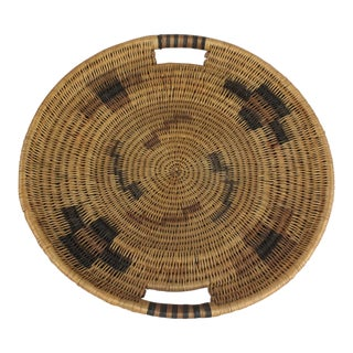 Southwestern Tribal Handwoven Handled Platter For Sale
