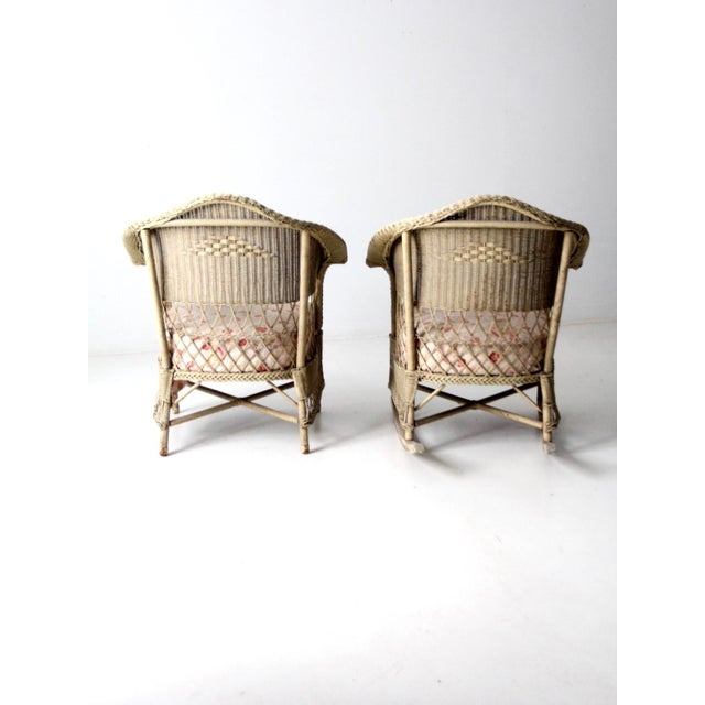 Cream Antique Wicker Chair and Rocker For Sale - Image 8 of 11