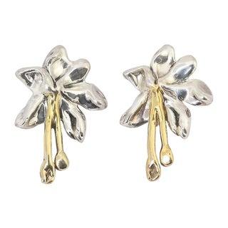 Large Sterling & Gilt Flower Earrings For Sale