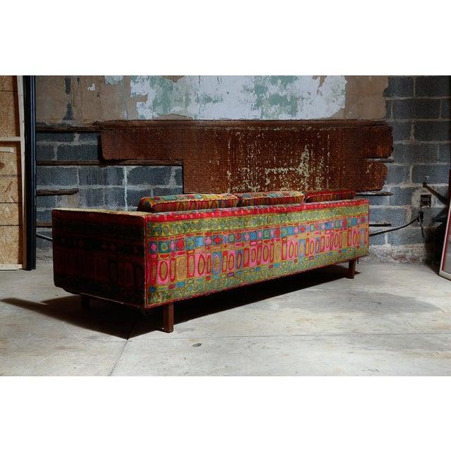 Boho Chic Edward Wormley Dunbar sofa with original Jack Lenor Larsen upholstery For Sale - Image 3 of 11