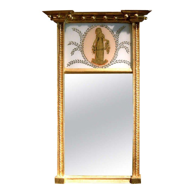 Mid 19th Century Charming Federal Giltwood Trumeau Mirror For Sale - Image 5 of 5