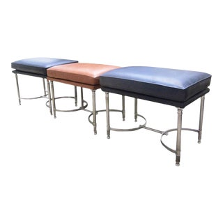 Chrome and Leather Benches Attributed to Maison Jansen - Set of 3 For Sale