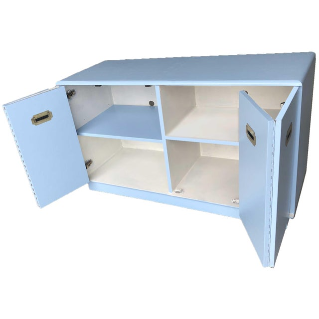 Metal 1960s Campaign Style Mid-Century Modern Credenza in Blue For Sale - Image 7 of 9