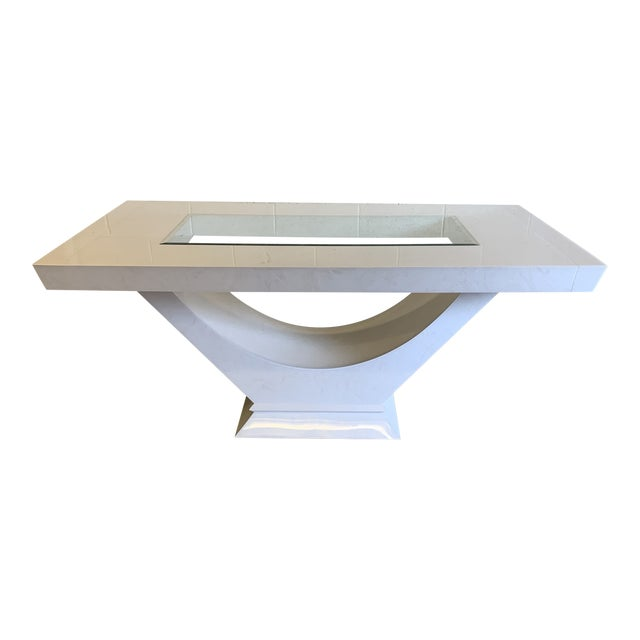 Contemporary High Gloss Lacquer Dining Table Extends For Sale