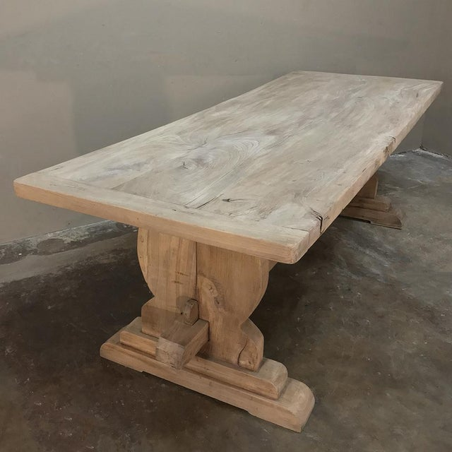 Wood Trestle Dining Table, 19th Century Country French Provincial in Stripped Walnut For Sale - Image 7 of 13